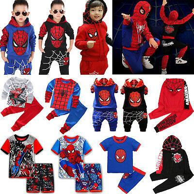 Kids Boys Spiderman Outfits Hoodie Sweatshirt Tops + Trousers Pant Tracksuit Set