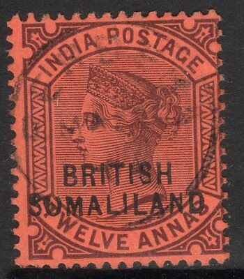 "SOMALILAND SG20b 1903 12a PURPLE/RED SHOWING ""SUMALILAND"" VARIETY FINE USED"