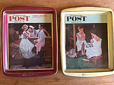 2 Vintage Collector's Series Saturday Evening Post Trays by  Norman Rockwell
