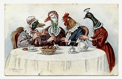 RARE CARTE. ANIMAUX HUMANISéS.HUMANIZED ANIMALS.PAON.CANARD.OIE.POULE COQ.