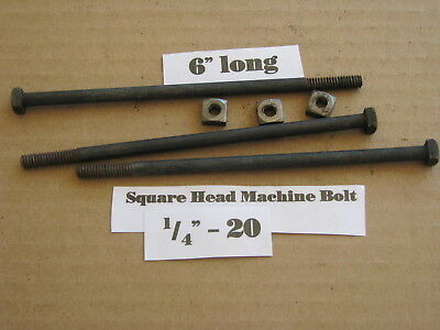 "Antique 1/4"" -20 X 6""  Square Head Bolts NOS LOT of 10"