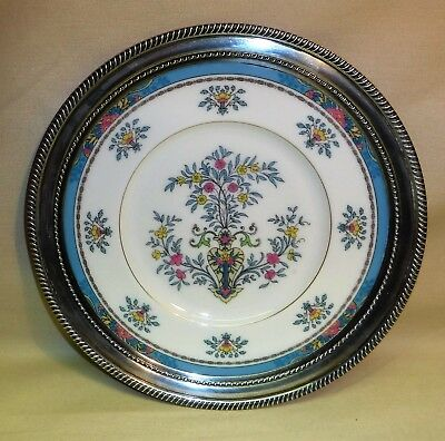 """Lenox Fine China """"Blue Tree"""" 10"""" Plate with Sterling Rim"""