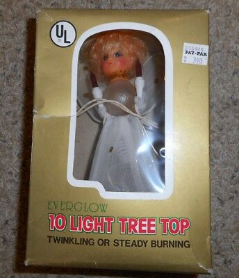 "VTG Angel Tree Top Christmas Flashing 7"" Everglow Ten Light"