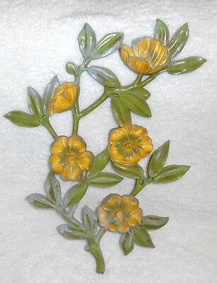 Vintage Homco Dart Ind Large Dogwood Wall Plaque Wall Hanging Yellow