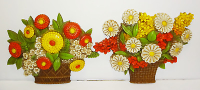 Vintage Homco Syroco Plastic Flowers in Basket Wall Hanging Plaques Lot of 2
