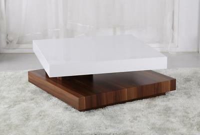 Coffee Table White Gloss Top Walnut Base Square Adjule