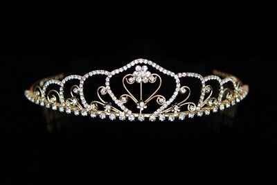 Wedding Hochzeit Prinzess Diadem  Tiara Gold Color