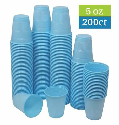 TashiBox 5 oz disposable blue plastic cups - 200 count - drinking cups, bathroom