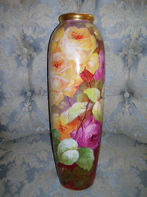 Large Limoges Factory Decorated Vase; HP Roses; A. Bronssillon