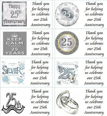 40 x Personalised 25th Wedding Anniversary labels/stickers/party/cake/sweet/bag