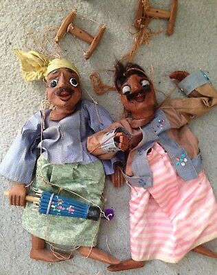 Charming Vintage Pair of Large Hand-Carved Wood Puppets