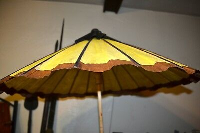 Vintage Chinese Rice Paper and Bamboo Hand Painted Parasol Umbrella Vtg c1940-50