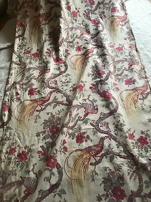 ANTIQUE FRENCH LINEN CURTAIN - BIRDS OF PARADISE & FLOWERS - 1920' - Alsace