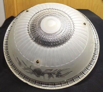 """1930s 1940s Vintage Floral Frosted Glass Lamp Ceiling Light Fixture Shade 14"""""""