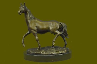 Hand Made Bronze Vintage Horse Bust On Marble Base Sculpture Statue Figurine Art