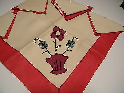 Vintage Linen 1 Tablecloth 4 Napkins Bridge Set Red Luncheon Set