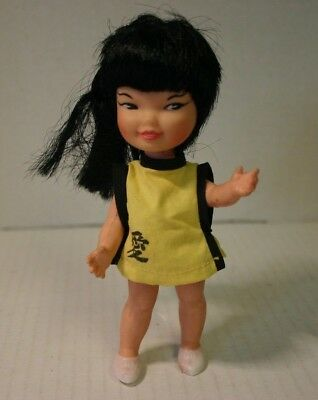 """1960s Vintage 5.5"""" Jan Remco Asian Doll in Outfit: Hi Heidi Friend Yellow Dress"""