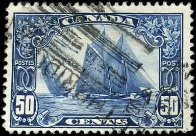 Canada #158 used F 1929 Scroll Issue 50c dark blue Bluenose CV$50.00