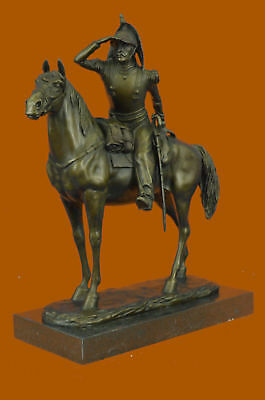 Hand Made Hot Cast by Lox Wax Method Cavalryman Horse with Armor Bronze Statue