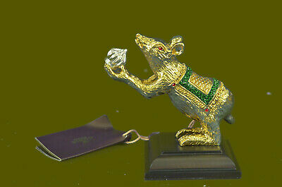 Hand Made 24K Gold Silver Plated Mouse Rat Statue Figurine Bronze Sculpture SALE