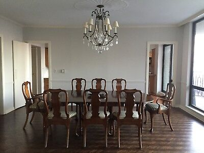 antique english  mahogany dining table  with extender table and  8 chairs