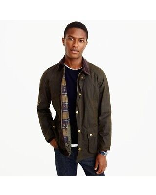 Barbour Classic Beaufort Green Waxed Cotton Jacket - Size Large - Men's