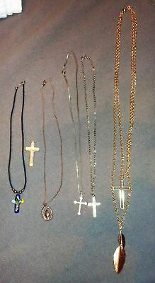 Mixed Lot Of 6 Vintage Necklaces Religious Cross Ceramic Mosaic Black Cord