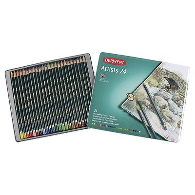 NEW Derwent Artists 24 Blendable Colour Pencils In Tin Box