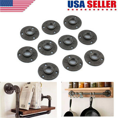 10Pcs 1/2'' Malleable Threaded Floor Flange Iron Pipe Fittings Wall Mount