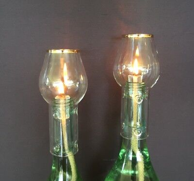 Wine Bottle Oil Lamp Kit - Clear with Gold Rim - Twin Pack.