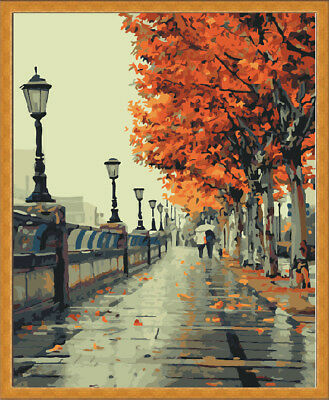 Paint by Numbers Kit 40x50cm with FRAME - Bridge in Autumn