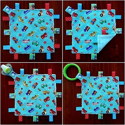Cars & Trucks Mini Size TaGgie Taggy Tag Blanket Toy comforter Dummy clip Holder