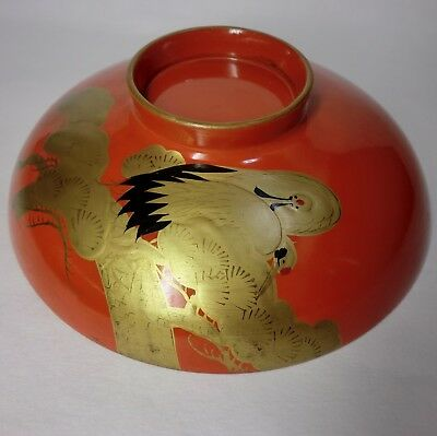 """Japanese antique wooden Lacquer bowl  """"Two cranes """" from JAPAN"""