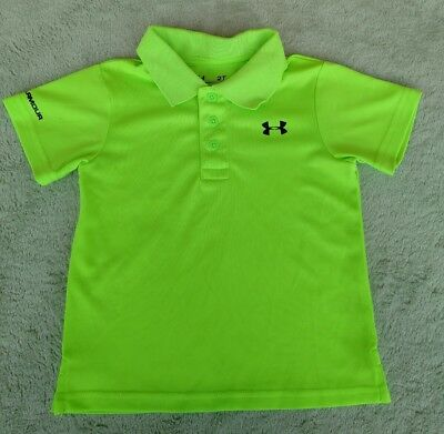 Under Armour Toddler Boy Size 2T S/S Polo Shirt Heat Gear Top High visibility