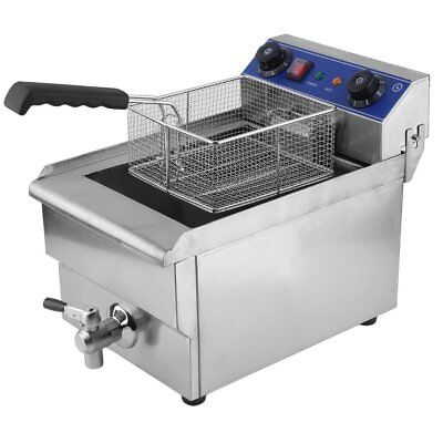 Commercial Restaurant Electric 13L Deep Fryer Stainless Steel + Timer Drain OY