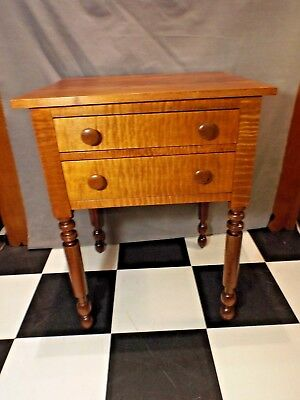 Antique 19th Century Sheraton Two Drawer Tiger Maple & Solid Cherry Stand Table