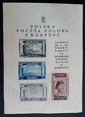 RARE 1944 Poland 2nd Corps Charity for War Widows & Orphans Minisheet w 4 stamps