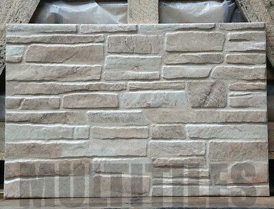 (50m2) 3D FEATURE WALL TILES IQ5. Ceramic, Stacked Stone Look, Cladding.CHEAPEST