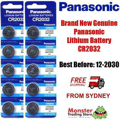 10pc PANASONIC CR2032 3V LITHIUM BUTTON BATTERY GENUINE/NEW BEST BEFORE 12/2028