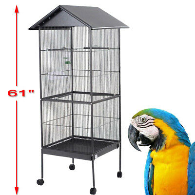 Large Parrot Bird Cage Play Top Pet Metal Cockatiel Macaw Cockatoo Crate House