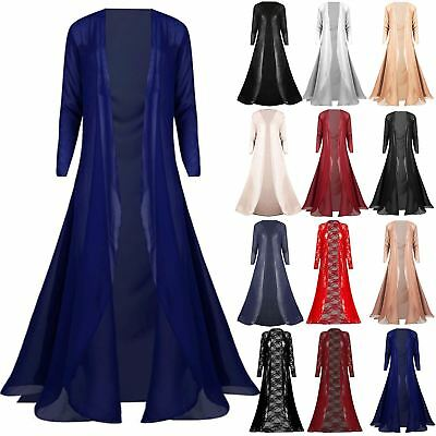 New Womens Floaty Flared Open Front Lace Mesh Panels Ladies Maxi Long Cardigan