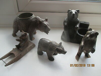 Antique Black Forest Carved Wood Bears    Some Small Chips 3 Good