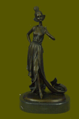 """Hand Made 13.5"""" Tall Flower Girl By French Bronze Sculpture Figurine Statue"""