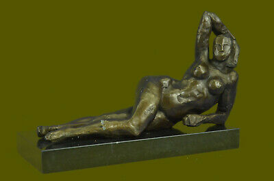 Hand Made BRONZE AFTER HENRY MOORE SCULPTURE MODERN ABSTRACT SLEEPING WOMAN