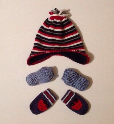 Nutmeg Baby Boys Multicoloured Striped Hat + X2 Blue Mitten Bundle One Size 6-12