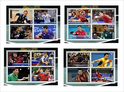 2010 Table Tennis Players 4 Souvenir Sheets Mnh Unperforated Ping Pong