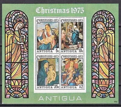 Antiga, 1975: Christmas m/s Bellini and Durer paintings, MNH