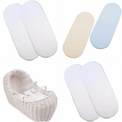 2 x Baby Crib/ Moses Basket Jersey Fitted Sheet 100% Cotton 30x75cm
