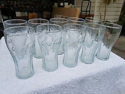 10 Lot Clear Coca Cola Coke 370ml Badged Drinking Glasses