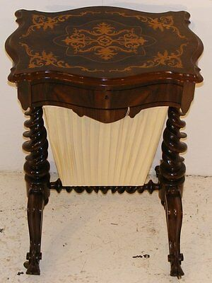 Good Quality Antique 19Th Century Rosewood And Inlaid Work Table